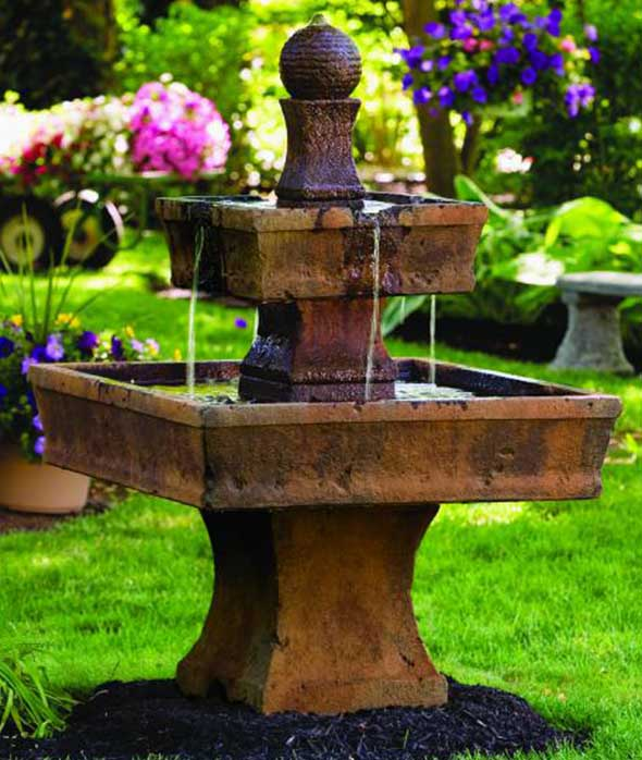 two tier stone garden fountain