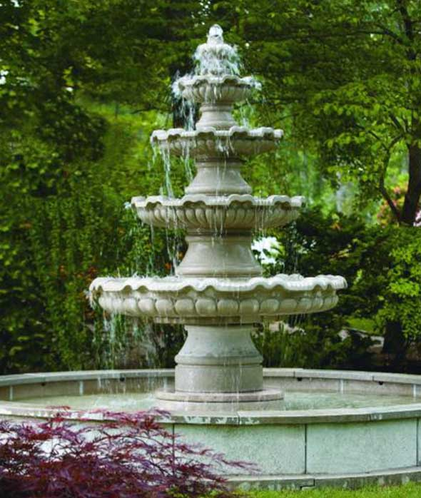 four tier stone garden fountain